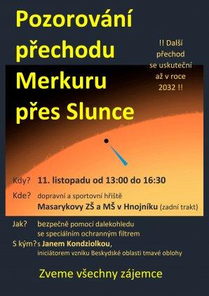 Pozorování přechodu Merkuru před Sluncem 11. listopadu 2019 v Hnojníku - pozvánka. Autor: ZŠ Hnojník.
