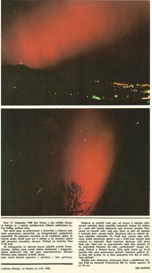 Polární záře 17. listopadu 1989. Autor: Jiří Kapras - Vesmír č. 12/1990.
