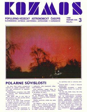 Polární záře 17. listopadu 1989 na obálce časopisu Kosmos z roku 1990. Autor: Josef Vnuček - Kosmos.