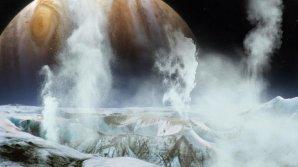 Gejzíry vodní páry na Europě v představě výtvarníka