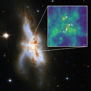 Galaxie NGC 6240 s vyznačenou polohou trojice supermasivních černých děr Autor: P. Weilbacher (AIP), NASA, ESA, Hubble Heritage (STScI/AURA)-ESA/Hubble Collaboration, and A. Evans