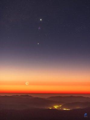 Měsíc, Jupiter a Venuše nad pouští Atacama Autor: Zdeněk Bardon