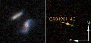 Na levém snímku je dvojice interagujících galaxií, poloha GRB 190114C je vyznačena červeným kroužkem; pravý snímek zachycuje optický protějšek gama záblesku Autor: de Ugarte Postigo et al, arXiv: 1911.07876