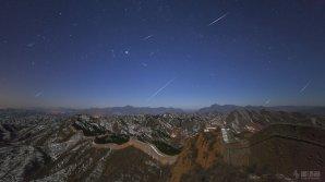 Kvadrantidy 2013 na Velkou čínskou zdí. Autor: Cheng Luo.