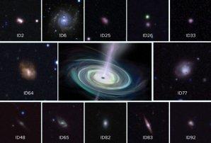 Trpasličí galaxie, u nichž byly objeveny hmotné černé díry v asymetrickém uspořádání Autor: Sophia Dagnello, NRAO/AUI/NSF/DECaLS Survey/CTIO