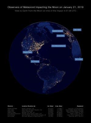 Polohy jednotlivých pozorovatelů na Zeměkouli v době dopadu meteoroidu na Měsíc 21. ledna 2019. Autor: NASA/Fourmilab/John Walker/Petr Horálek.