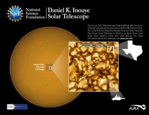 Inouye Solar Telescope se může zaměřit na oblast o průměru 38 000 km a pořizovat snímky s rozlišením 30 km Autor: NSO Integrated Synoptic Program/GONG