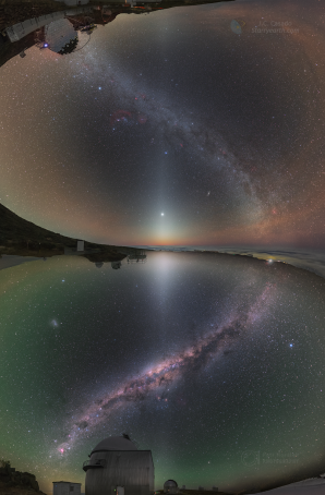 Nebe z obou polokoulí, od La Palmy na La Sillu, protkané zvířetníkovým světlem. Autor: Petr Horálek/ESO, Juan Carlos Casado/IAC/TWAN