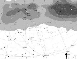Vyhledávací mapka pro kometu C/2019 Y1 Autor: Martin Mašek, Guide9