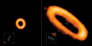 Příklady neskloněného a vychýleného protoplanetárního disku kolem dvojhvězd pozorovaných radioteleskopem ALMA Autor: ALMA (ESO/NAOJ/NRAO), I. Czekala and G. Kennedy; NRAO/AUI/NSF, S. Dagnello