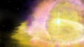 Umělecké ztvárnění exploze supernovy SN2016aps Autor: Aaron Geller (Northwestern University)