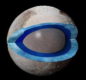 Umělecké ztvárnění předpokládaného globálního podpovrchového oceánu na Plutu Autor: NASA