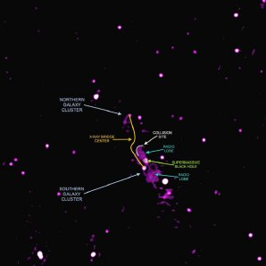 Pohled na Abell 2384 v oboru rádiového záření Autor: Giant Metrewave Radio Telescope, Indie