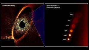 Kresba znázorňuje pozorované polohy zdánlivé exoplanety Fomalhat b; ve skutečnosti se jedná o oblak prachu vytvořený při kolizi dvou těles velikosti planetky Autor: NASA, ESA a A. Gáspár a G. Rieke (University of Arizona)