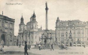 Mariánský sloup na dobové pohlednici Autor: autor neznámý