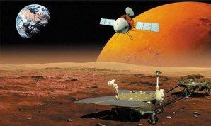 Umělecké ztvárnění trojdílné čínské sondy k Marsu Tianwen-1 Autor: CNSA/Chinese Academy of Sciences/Nature Astronomy