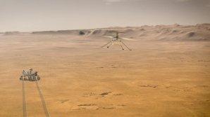 Na ilustraci je představa zkušebního letu Ingenuity na povrchem rudé planety Autor: NASA/JPL-Caltech