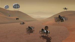 Přistání a první výzkumné lety sondy Dragonfly na měsíci Titan Autor: NASA/JHUAPL