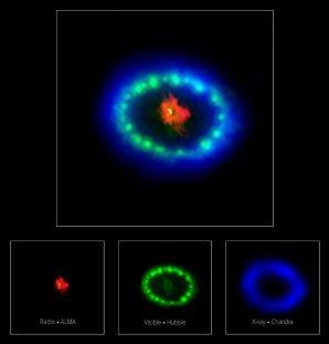 Snímek pozůstatku po explozi supernovy SN 1987A v oboru různých vlnových délek záření ze tří různých observatoří. Autor: ALMA (ESO/NAOJ/NRAO), P. Cigan and R. Indebetouw; NRAO/AUI/NSF, B. Saxton; NASA/ESA
