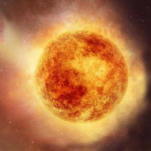 Umělecké ztvárnění hvězdy Betelgeuse Autor: NASA, ESA and E. Wheatley (STScI)