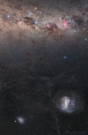 Galaxie a jižní nebeský pól Autor: Petr Horálek a Josef Kujal