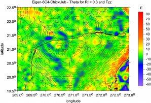 Kráter Chicxulub, severní Yukatán: úhly napětí dohromady s radiální druhou derivací ukazují náznak svatozáře kolem kráteru a negativní nebo pozitivní hodnoty derivace (nedostatek nebo nadbytek hmoty vůči okolí). Autor: Jaroslav Klokočník
