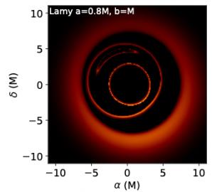 Jak by mohl vypadat výsledný stín červí díry spolu s detekovanými fotonovými prstenci. Autor: : Frederic Vincent a kol