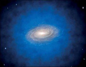 Umělecké ztvárnění spirální galaxie ponořené v neviditelné temné hmotě, označované jako halo temné hmoty, které je zobrazeno modrou barvou Autor: ESO/L. Calçada