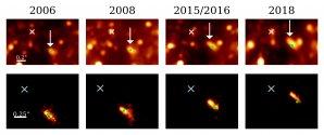 Sekvence infračervených snímků zachycuje pohyb zdroje X7 Autor: Peissker et al.