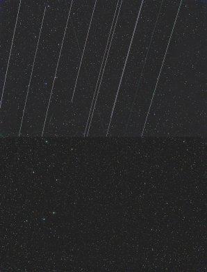 Stopy družic Starlink může pomoci odstranit počítač při zpracování, někde je ale proces již nevratný, pokud je stopa příliš jasná. Autor: Martin Gembec