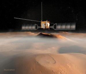 Na této ilustraci prolétává evropská sonda Mars Express nad povrchem Marsu; JPL dodala přijímač pro radar MARSIS (Mars Advanced Radar for Subsurface and Ionospheric Sounding) na palubě sondy Autor: ESA/NASA/JPL-Caltech