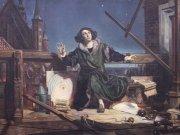 Obraz Mikuláš Koperník provádějícího astronomické pozorování Autor: Jaromír Ciesla