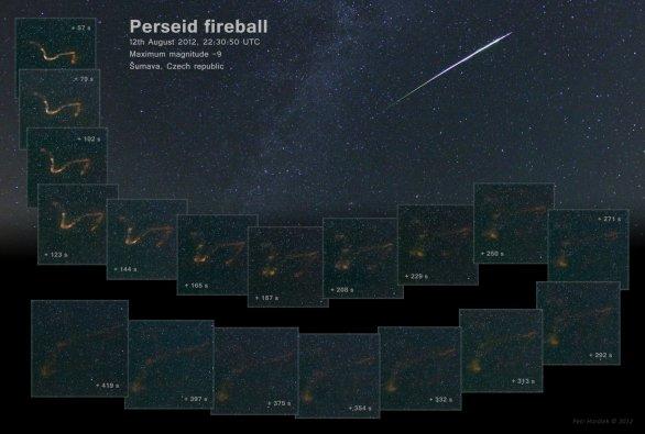 Záznam bolidu z Perseid a vývoje jeho stopy byl dílem štěstěny i připravenosti Autor: Petr Horálek