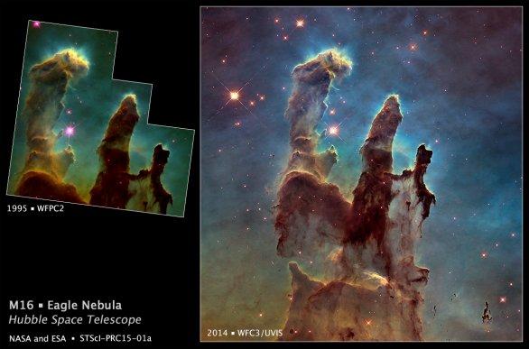 Mlhovina M 16 v souhvězdí Štítu, detail sloupů stvoření verze 2015 HST Autor: NASA, ESA, and the Hubble Heritage Team (STScI/AURA)