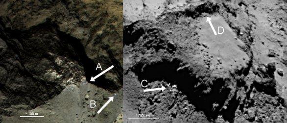 Podpovrchový led v jádře komety 67P Churyumov-Gerasimenko Autor: ESA