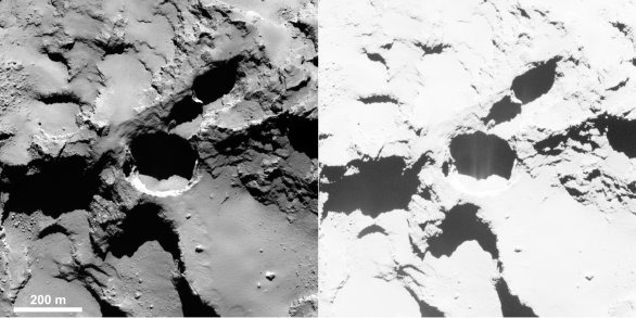 Podpovrchová aktivita na komětě 67P Churyumov-Gerasimenko Autor: ESA
