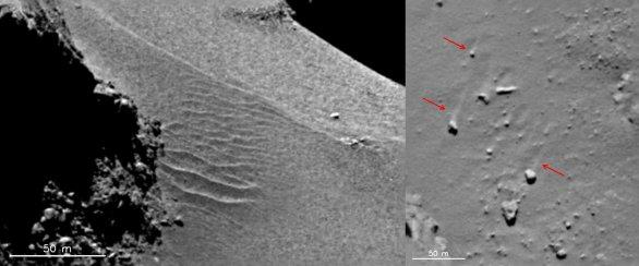 Písečné duny na povrchu jádra 67P Churyumov-Gerasimenko Autor: ESA