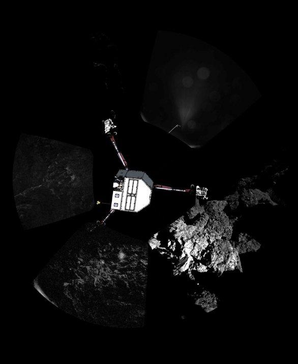Povrch komety 67P Churyumov-Gerasimenko a modul Philae Autor: ESA