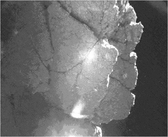 Ostré skály na 67P Churyumov-Gerasimenko u modulu Philae Autor: ESA