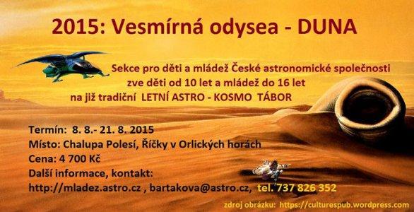 Pozvánka na Astro-Kosmo tábor 2015. Autor: Sekce pro děti a mládež