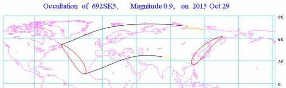 Pás pozorovatelnosti zákrytu Aldebarana Měsícem 29. října 2015. Autor: Hvězdárna v Rokycanech.