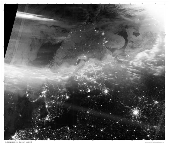 Aurorální ovál nad Skandinávií 18. března 2015 v 0:55 UT. Autor: Družice Suomi NPP/DNB.
