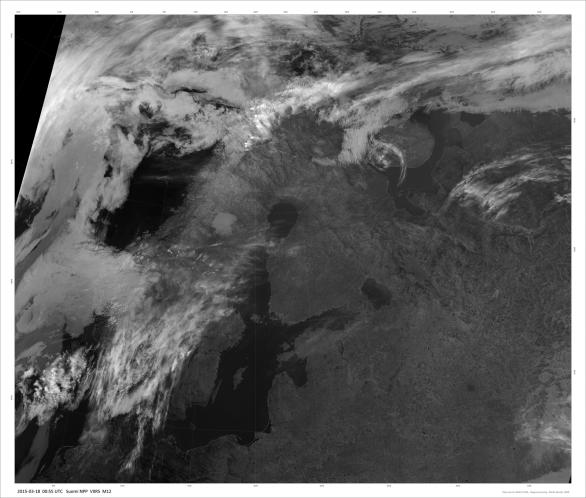 Severní Evropa v kanálu M15 bez polární záře. Autor: Družice Suomi NPP/DNB.