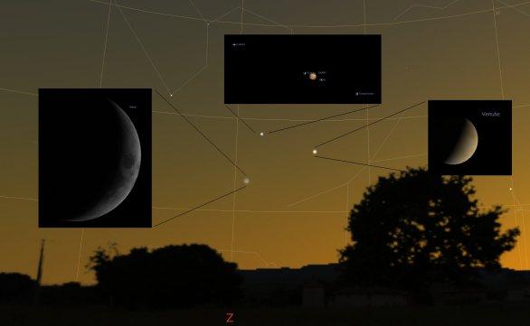 Konjunkce Jupiteru, Venuše a Měsíce 20. června 2015. Autor: Stellarium, Karel Halíř.