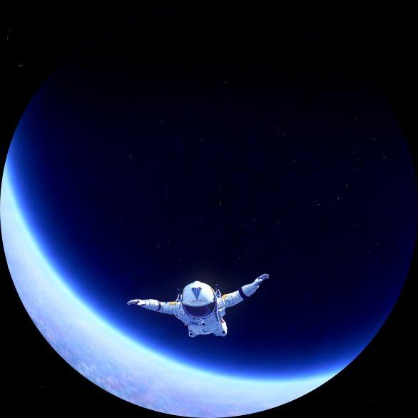 Z fulldomové animace Felixe Baumgartnera z výšky 40 kilometrů. Autor: Fuldome Film Society.