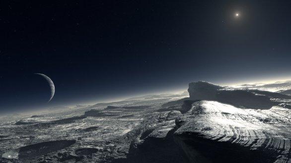 Umělecká představa povrchu Pluta a nedalekého Charonu. Autor: ESO