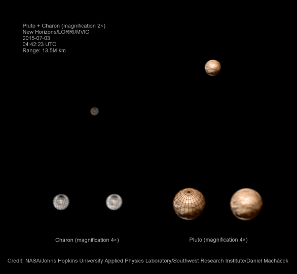 Pluto a Charon 3. 7. 2015 Autor: NASA/JHUAPL/SWRI/Dan Macháček