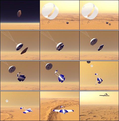 ARES od deorbitace až po let v marsovské atmosféře. Autor: NASA.