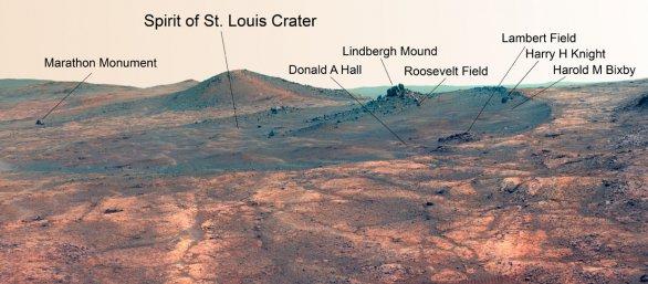 Kráter Spirit of St. Louis na Marsu Autor: NASA/JPL-Caltech/Cornell Univ./Arizona State Univ.