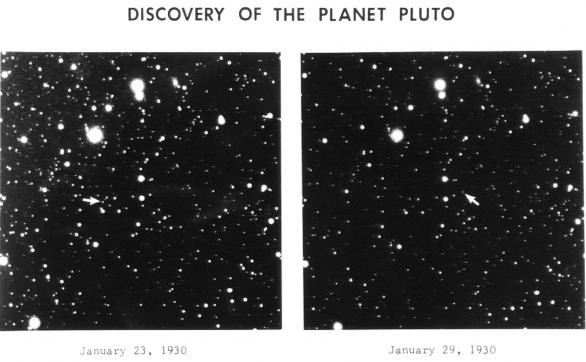 Objevové snímky Pluta; Pluto označeno šipkou. Autor: Clyde Tombaugh